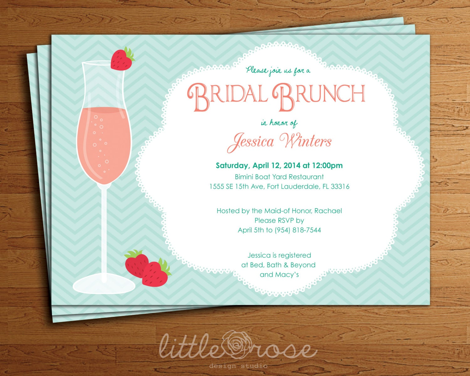 Mimosa bridal brunch invitation bridal shower invitation for Wedding brunch invitations