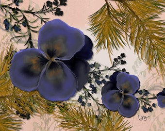 "Floral painting print, Original digital painting ""Pansies and Pine""  An abstract painting with periwinkle blue pansies and pine sprays."
