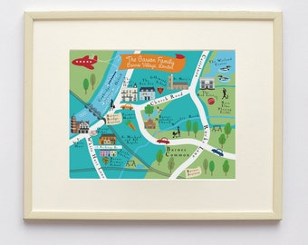 A personalised map of Barnes Village printed on linen