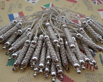 Cell Phone Strap Lanyard--50pcs 70x5mm Silver  Lariat Lanyard Mobile Cell Phone Strap Chains Connectors With Silver  Metal Top