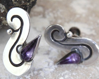 Vintage Mexico Sterling and Amethyst Screw Back Earrings