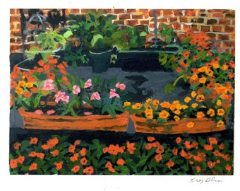 Flowers in Courtyard Note Card