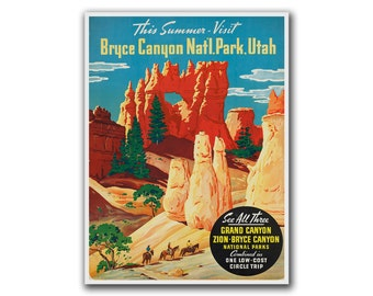 Retro Poster National Parks Travel Art Bryce Canyon Print Home Decor (H173)