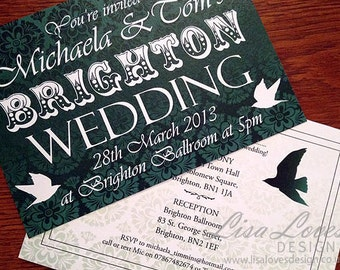 Vintage Brighton Wedding Invitations