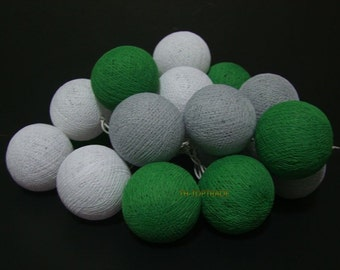 Green tones cotton ball string lights for Patio,Wedding,Party home Decor