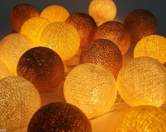 20 Mix Brown Yellow and white Cotton Ball String Lights Fairy lights Party