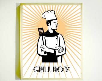 GRILL BOY Downloadable Image / Barbecue Sign / Gift for Dad / Fathers Day Gift / Gifts for Men