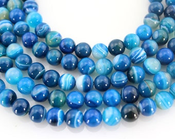 8mm Blue Agate Beads,Full Strand,Agate Beads ,Round Agate Beads,Gemstone Beads---about 48 Pieces---15inches--BA009