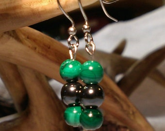 Malachite & Hematite Stone Earrings