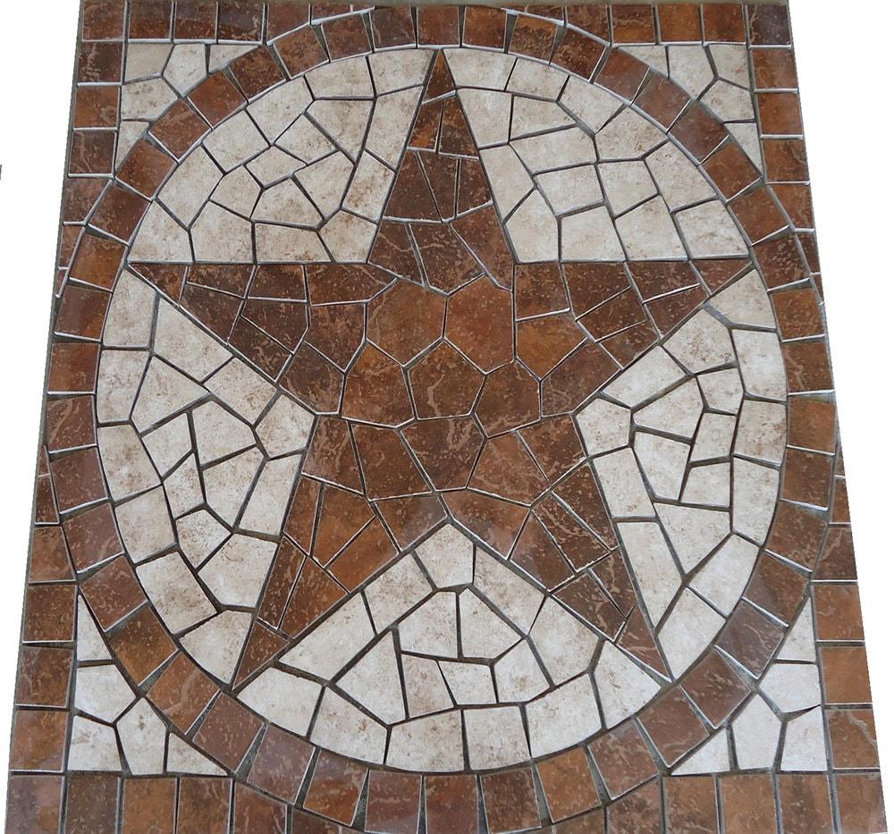 Square Santa Cruz Texas Star Mosaic Porcelain Tile Medallion