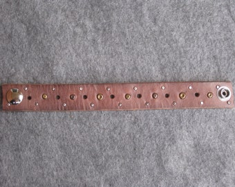 Brown Studded Leather Wristband
