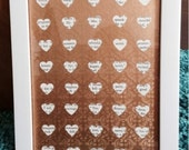 Upcycled old book picture wedding hearts gold