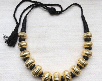 Ethnic Gold Plated Silver Bead Necklace - Banjara, India