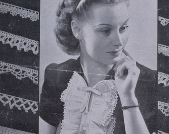 Vintage crochet edgings pattern pdf INSTANT download pretty crochet edgings trims pattern only pdf 1940s