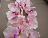 Pink Orchid Flowers in Black Tall Thin Glass Vase.Synthetic Artificial Flower.Very Good Quality.Wedding.Home.Long Stem.14 Heads.