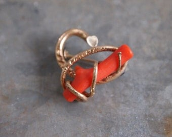 Antique Victorian Gold Filled Coral Branch Pin 6757