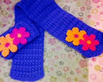 Flower Adorned Scarf and Matching Ear Warmer