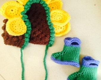Sunflower Hat and Rainboots