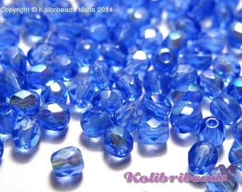 Fire polished Czech Glass Beads 4 mm - Sapphire AB