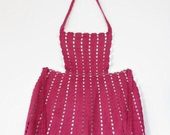 Vintage Childrens Cranberry Crochet Full Apron. Handmade Children's Apron. Children's gift.