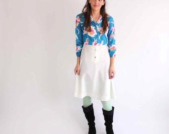 sale 1960s dress . painted floral shirtwaist dress & vest set - vintage 60s / 70's white a-line skirt dress - womens large