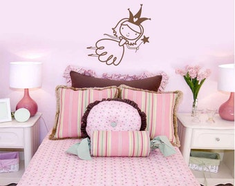 Fairy Princess Vinyl Wall Decal size SMALL - Little Girl Decal, Children's Room Decor, Nursery Design, Princess Design, Fairy Decal,