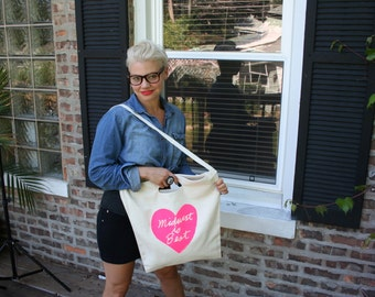 midwest is best tote, midwest is best heart, graphic tote, hot pink, neon pink, megan lee designs, free ship