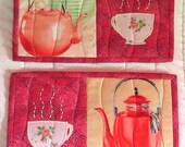 Rose Teacup and Teapot Mug Rug Set
