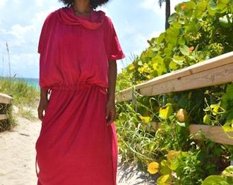 Hooded Kaftan in Organic Hemp Jersey. Made to order.