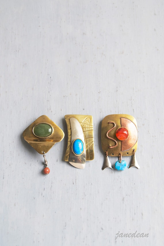 3 Mod Metal Magnets -  recycled vintage jewelry