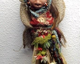 Autumn Solstice Spirit, Mix Media Fiber Boho Art Doll OOAK Wall Decoration