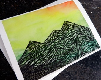 Summer Mountains Greeting Card - Blank Inside with Envelope - Birthday, Gift, Note Card, Special Occasion