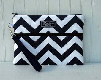 Kindle / iPad Mini / Nook / eReader / Padded Pouch / Bag / Wristlet- Navy Chevron
