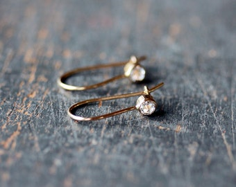 Diamond Earrings, Rose Cut Diamond Earrings, Wedding Earrings, Bridal Jewelry, 14k Yellow Gold, Recycled Gold, Ethical Jewelry Conflict Free