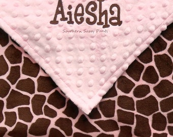 Personalized Toddler Girl Blanket , Pink and Brown Giraffe Minky Blanket , Baby Girl Blanket - 36x40