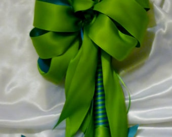 "15"" Embellished special Occasion Candle, Teal and Lime- Orthodox Baptism Wedding"