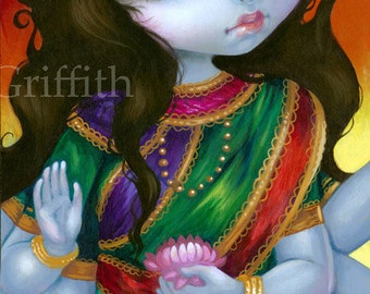 Lakshmi art print by Jasmine Becket-Griffith BIG 8x16 hindu india blue goddess fairy