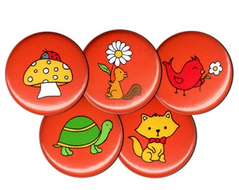 SALE Happy Critters Pin Set of 5 One Inch Pinback Buttons