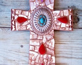 Mosaic Cross Tile Religious in Brown, Red and Turquoise