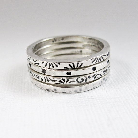 sterling silver stacker rings patterned