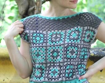 Cute Girl Squares Tank Crochet Pattern