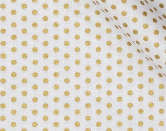 Robert Kaufman Spot On Blanc Pindot Gold White Quilting Apparel Fabric BTY