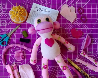 Sock Monkey Plush D.I.Y. Kit No. 901 - No Sewing Machine Needed