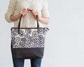 AnemoneTote in Warm Charcoal, Hand Printed, Leather, Brass Zipper