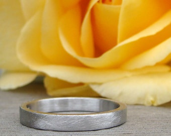 Recycled 950 Palladium Matte / Brushed Wedding Band, Square Edged, Eco-Friendly, Ethical, Made To Order