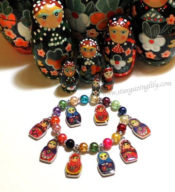 Matryoshka Doll Charm Bracelet. Russian Stacking Dolls