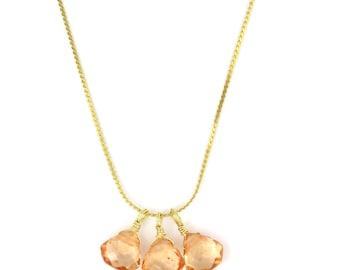 Birdhouse Jewelry - Peach Quartz Trio Necklace