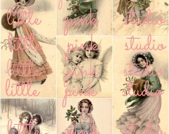 A Victorian Christmas, DIGITAL Collage Sheet, instant download, printable