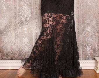 La Rose Gothique Black Lace Mermaid Skirt Custom to Measure