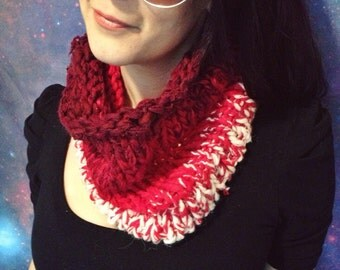 Red to white ombré cowl scarf - ecofriendly knit